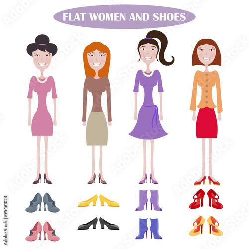 set of standing women