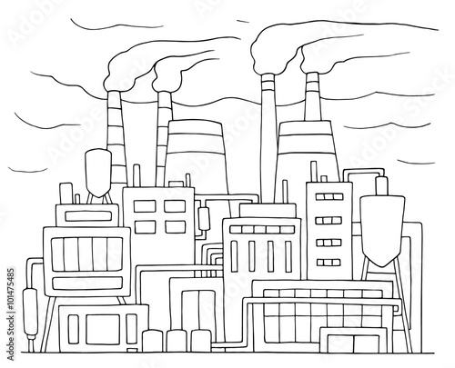 Industrial cartoon sketch of nuclear power station. Doodle