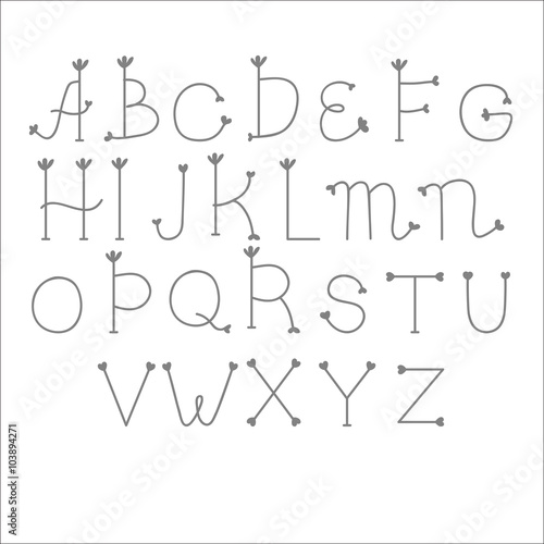 Cute beautiful font. English alphabet. Hand drawn, doodle