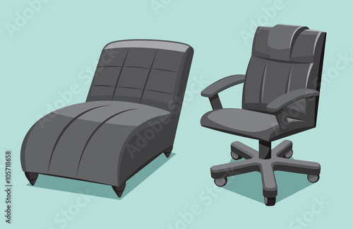 office chair illustration tiger print collection types seating leather and lounger cartoon isolated vector