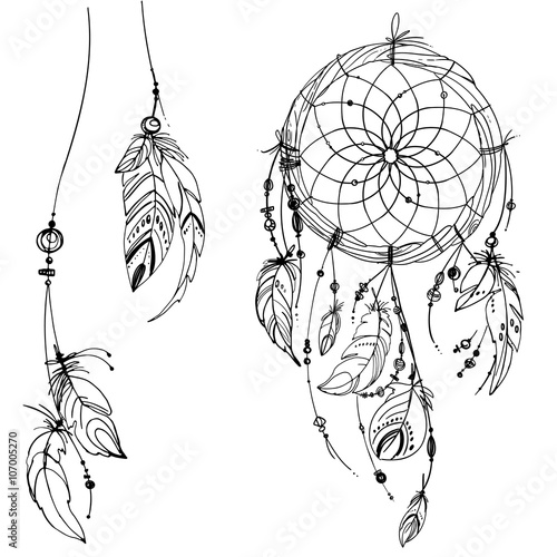 Dreamcatcher, Set of ornaments, feathers and beads. Native