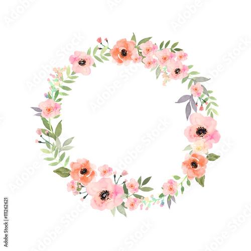 vector watercolor flowers frame