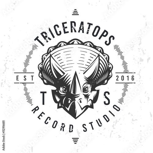 Dinosaur record studio logo template. Triceratops music