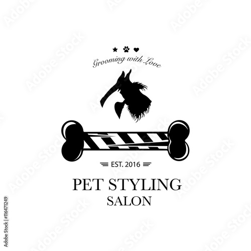 Logo for pet hair salon, pet styling and grooming shop
