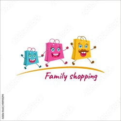 Family shopping logo Happy shopping bags family running to the store Vector cartoon illustration isolated Family shopping icon Buy this stock vector and explore similar vectors at Adobe Stock Adobe Stock