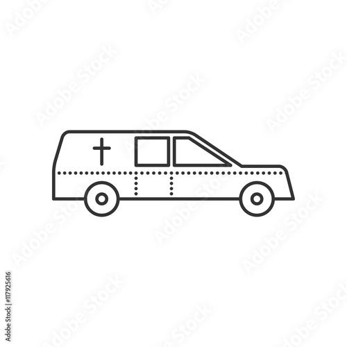 Coffin transport. Hearse car flat icon. Symbol of death