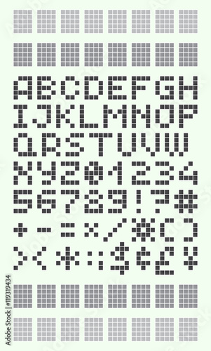 Pixel Font In 4x5 Pixel Grid Numbers And Letters Stock