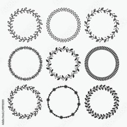 Black silhouette circle leaves border pattern emblems set on white background Buy this stock vector and explore similar vectors at Adobe Stock Adobe Stock