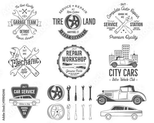 Vintage car service badges, garage repair retro labels and