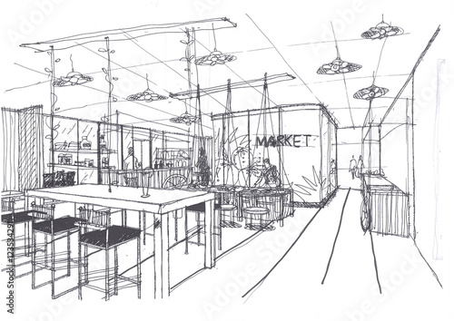 Outline sketch drawing and paint of a interior space
