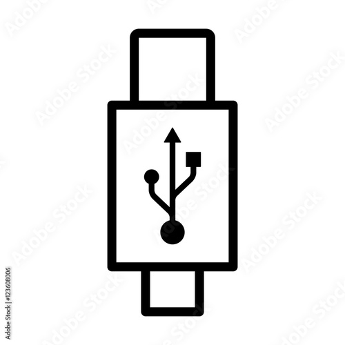 USB Type-C connector cable line art icon for apps and