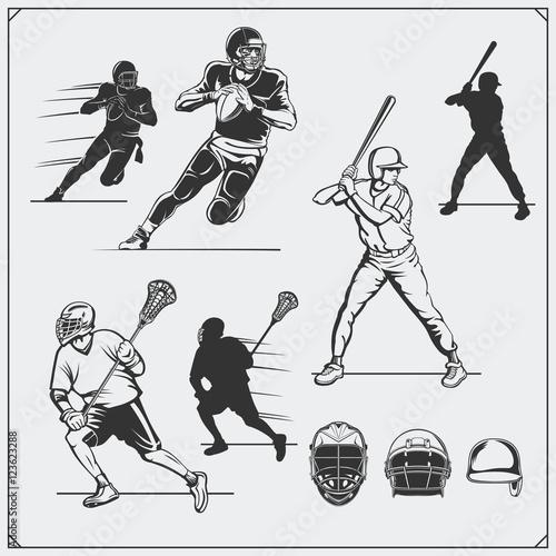 Illustration of sports players. Football, baseball and