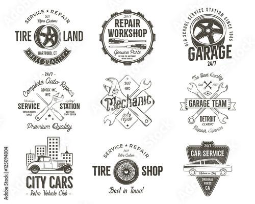Vintage car service badges, garage repair labels and