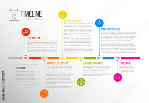 Multicolored Tab Timeline Infographic Buy This Stock