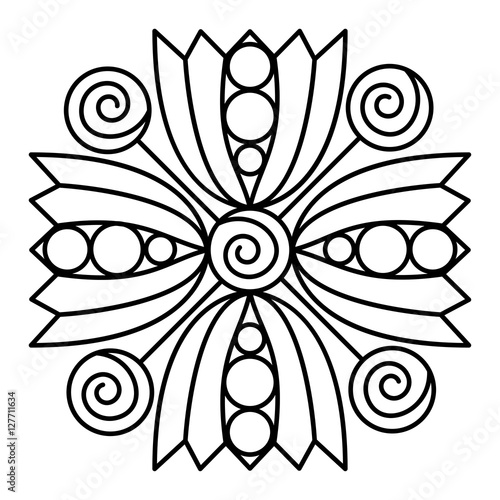 Simple mandala flower design for coloring book pages