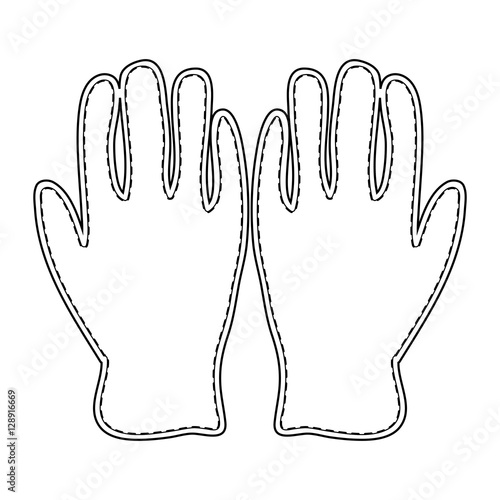 Winter Gloves Outline Icon Symbol Design. Vector leather