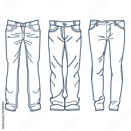 drawing blue jeans vector