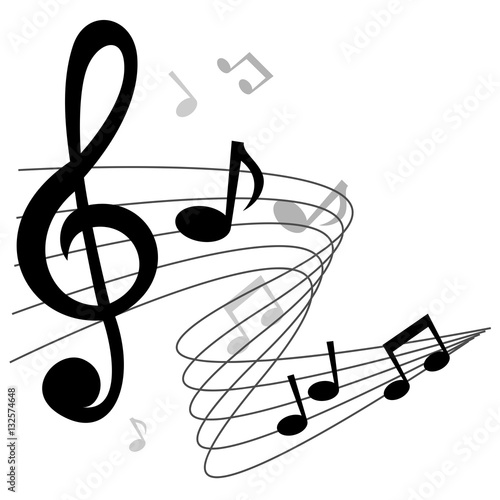 Music notes (chords) vector background design with treble