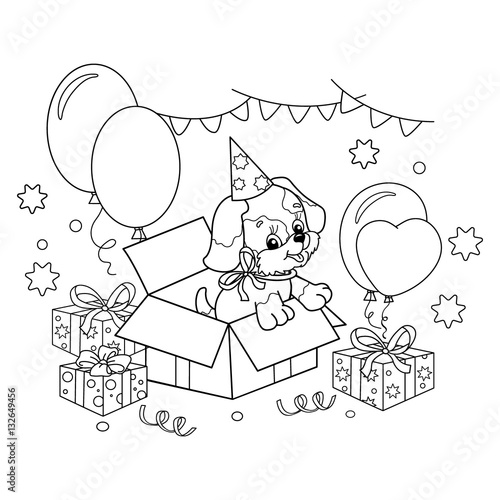 Coloring Page Outline Of cute puppy. Cartoon dog with bow