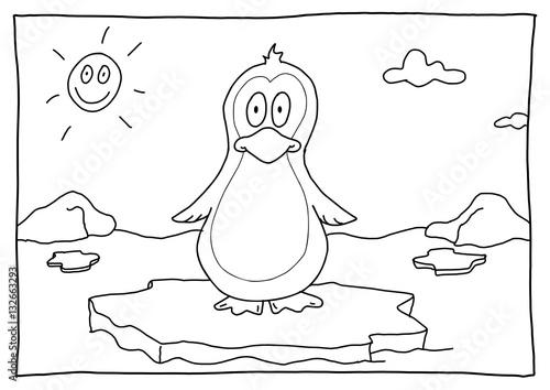 Ausmalbild Pinguin Stock-Illustration Adobe Stock