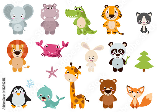 Big set isolated animals Vector collection funny animals