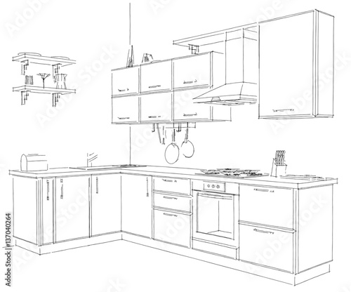 Sketch outline drawing of 3d contemporary corner kitchen