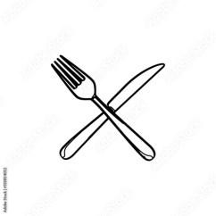 Kitchen Fork Overstock Cabinets Silhouette Set Cutlery Knife And Elements Vector Illustration