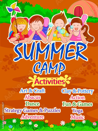Banner Poster Design Template For Kids Summer Camp