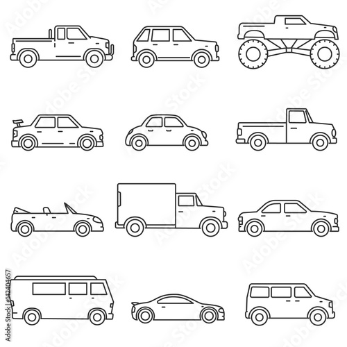 Cars, icons set. Means of transport, thin line design