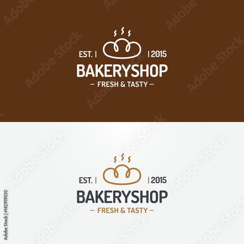 Bakery Shop Logo Set Modern Line Style For Use Bread House Loaf