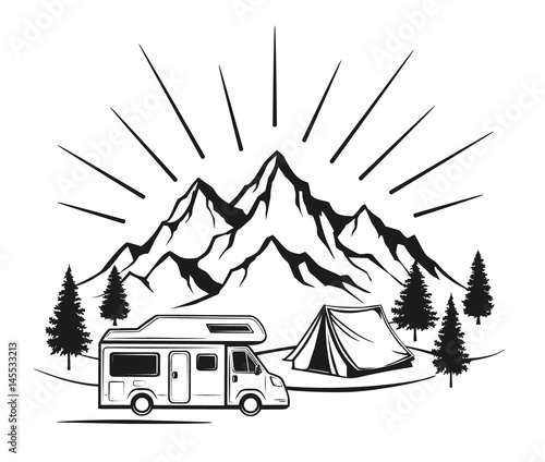 Campsite with camper caravan, tent, rocky mountains, pine