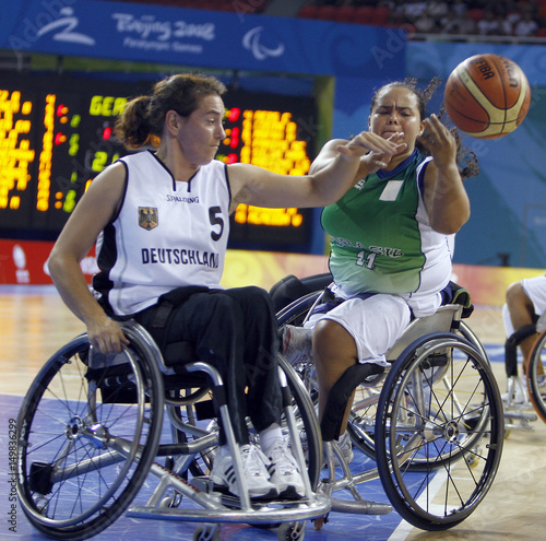 wheelchair fight balance posture chair brazil s jucilene moraes and germany birgit meitner for the ball during their basketball preliminaries