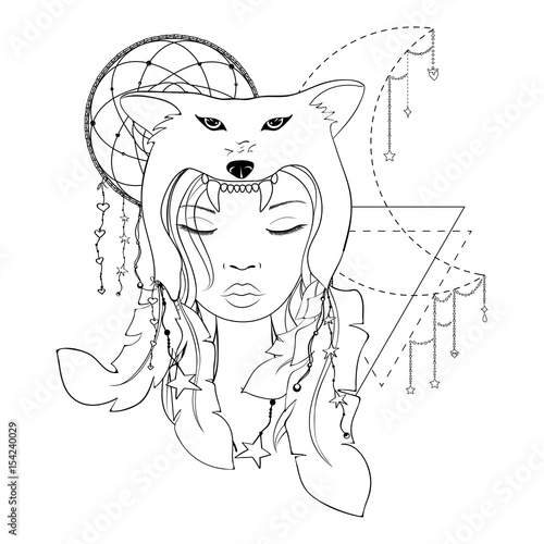Native American girl with Wolf headdress Lineart. Hand
