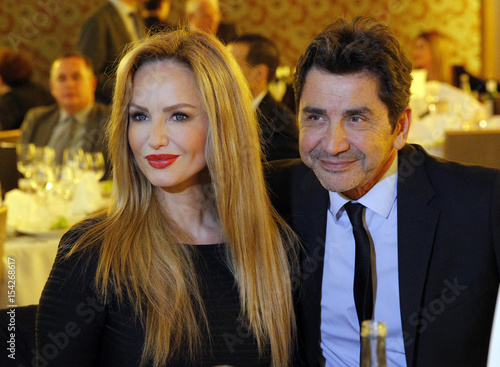 French model Adriana Karembeu and her husband Andre Ohanian attend