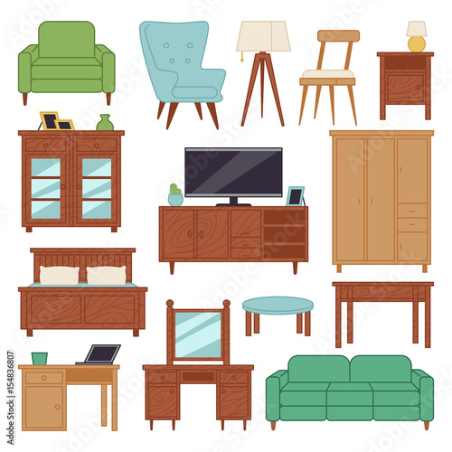 Furniture Interior Icons Home Design Modern Living Room House Sofa Comfortable Apartment Couch Vector Ilration