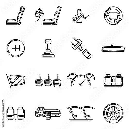 Set of car interior details outline vector icon. Includes