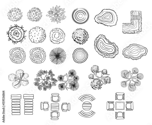 set of tree top symbols, for architectural or landscape