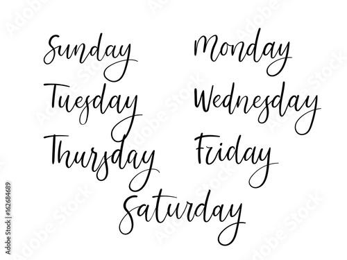 Handwritten Days of Week. Modern Calligraphy Calendar