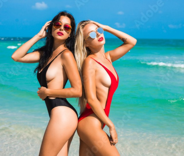 Two Beautiful Amazing Tanned Sexy Girls On The Beach Blonde And Brunette Long
