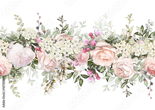 Isolated Seamless Border With Pink Flowers, Leaves