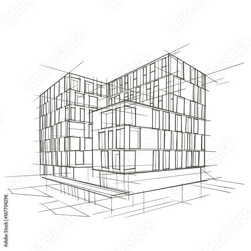 modern architecture drawing vector