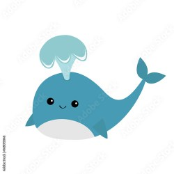 Blue whale with fountain Sea ocean life Cute cartoon character with eyes tail fin Smiling face Kids background Baby animal collection Flat design White background Isolated Buy this stock vector and