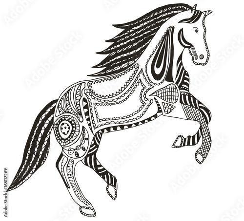 Zentangle stylized horse, swirl, illustration, vector