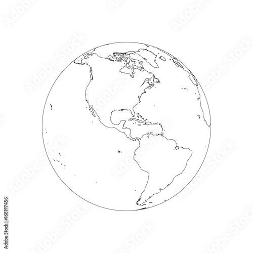 Earth globe wireframe. Focused on America. Vector
