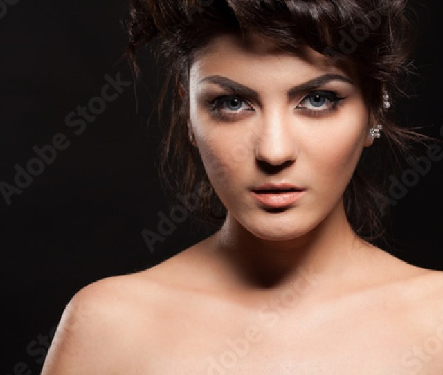Gorgeous Brunette Model In Studio Photo On Black Background Perfect Make Up And Hairstyle