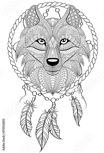 Dream catcher with wolf. Tattoo or adult antistress