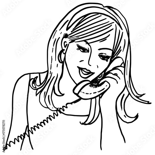 Calling girl. Vintage style sketch with pretty girl