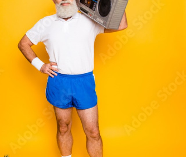 Crazy Aged Funny Active Sexy Athlete Pensioner Grandpa In Eyewear With Bass Clipping Ghetto Blaster Recorder