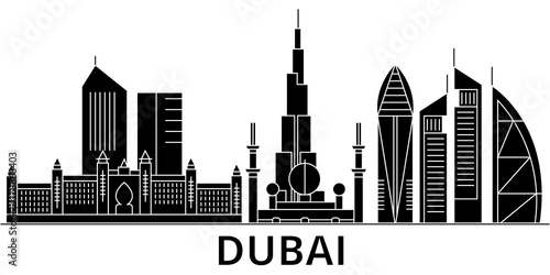 Dubai architecture skyline, buildings, silhouette, outline