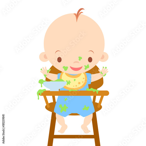 baby chairs for eating antique white round table and in high chair messy vector illustration buy this stock